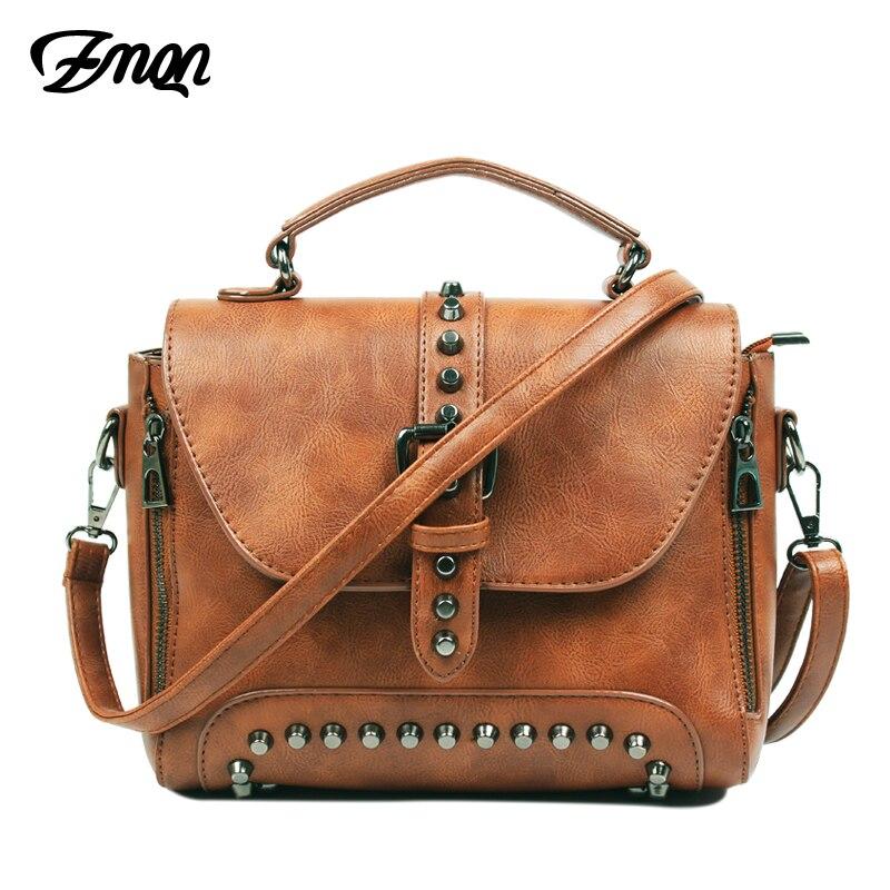 ZMQN bandolera bolsas, bolsas de mensajero para mujeres, 2018 Vintage bolsos de cuero bolsos de marca famosa remache de hombro Sac A522