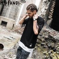 HIPFANDI 2017 Summer Cotton Pure Color Splicing T Shirts Men Brand O Neck Short Front Long