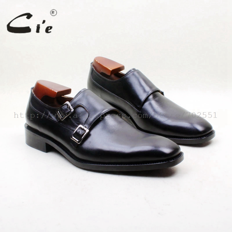 cie Free Shipping Goodyear Welted Handmade Square Plain Toe Double Monk Straps Calf Leather Men's Shoe Leather Outsole MS153 mc7812 induction tobacco moisture meter cotton paper building soil fibre materials moisture meter