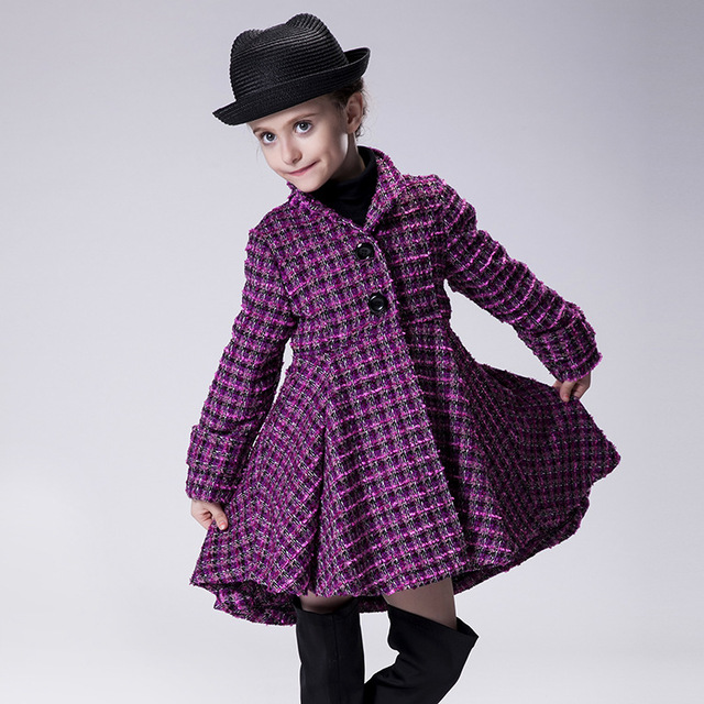 Hot girls long-sleeved coat Children purple grid Bon bon coat new 2016