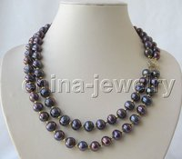 Beautiful 2row 20 22 10mm Black Round FW Pearl Necklace