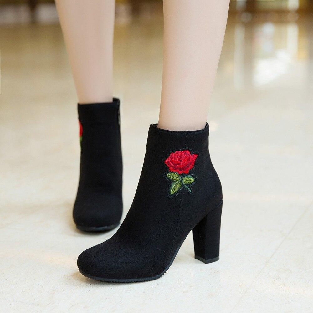 34 Negro 2018 Rojo S Romance Más Altos Cuadrados verde Mujeres Oficina Tamaño Sb078 Mujer Bombas Señoras Botas 43 Zapatos apricot Tobillo Tacones rojo Negro STYxqT