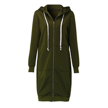 Plus Size S-5XL Fashion Causal Zip Up Hooded women Jacket Full Sleeve Pockets Hoodies Autumn Winter Long Coat black Dropshopping