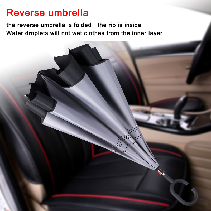Drop Shipping Windproof Reverse Folding Double Layer Inverted Chuva Umbrella Self Stand Rain Protection C Hook Hands For Car in Umbrellas from Home Garden