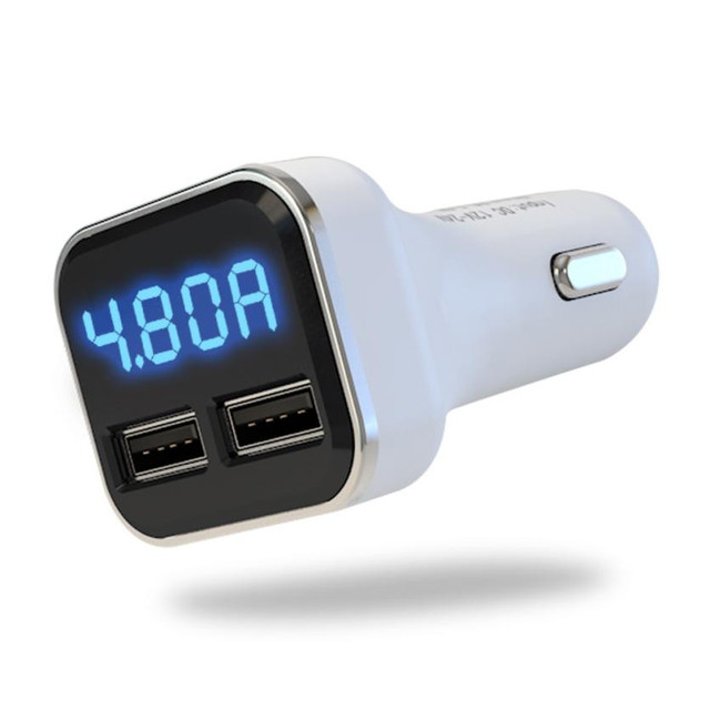 Nuevo cargador de cigarrillo Dual USB para coche con pantalla LED voltímetro amperios DC 4.8A 5 V cargador de enchufe para encendedor de coche adaptador de enchufe