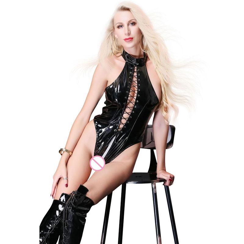 Buy Sexy Women Plus Size Bandage High Cut Bodysuit Zipper Open Crotch Hollow Backless Bodysuit Latex Faux Leather Shiny Catsuit F50