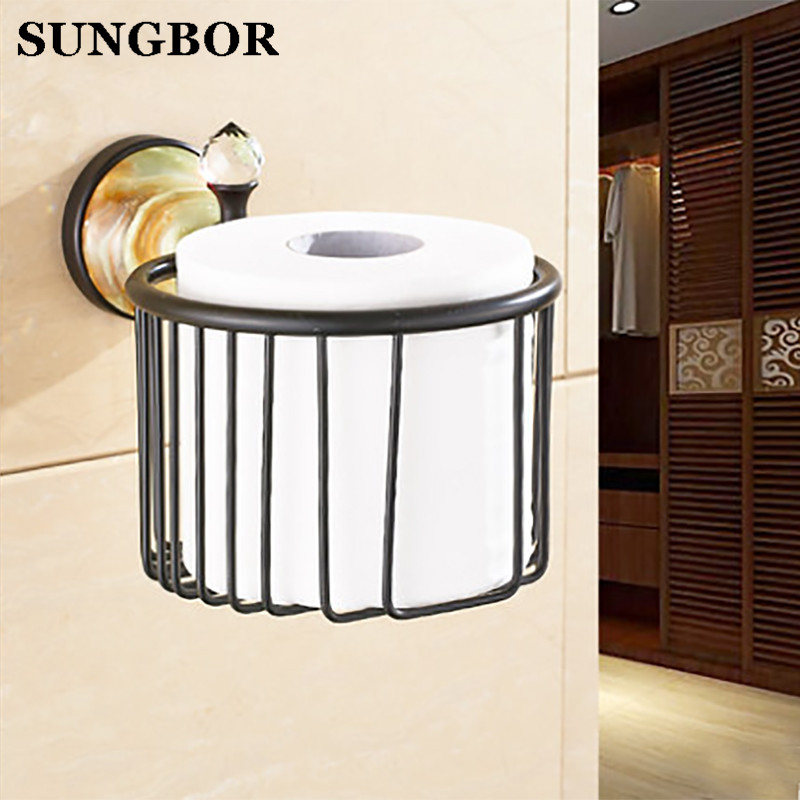 Bathroom golden jade paper basket holder with nature stone head wall tissue box hand paper box in bathroom accessories HY-95807H недорого