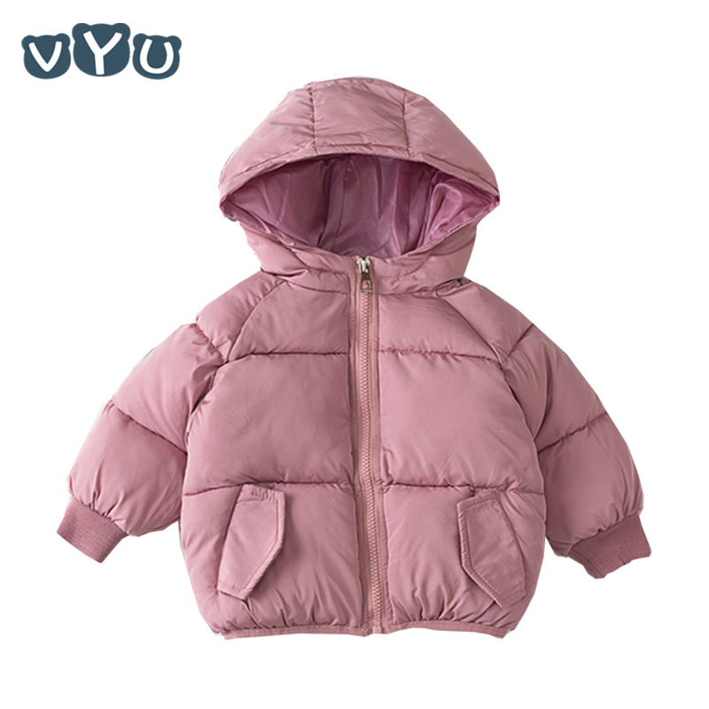 Children Winter Jacket Outwear Overcoat Girls Boys Kids Warm Short Infant Hooded Solid