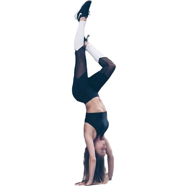 Women Fitness Leggings Sexy Skinny Sportswear Patchwork Mesh Workout Pants Women High Waist harajuku legging push up QA1618