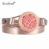 EVERLEAD Wrap Screw Twist Open Bracelets For Women Rose Gold Color Leather Bracelet Perfume Oil Diffuser