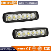 2x 6inch 18W Spot LED Work Light Car Truck Boat Driving Fog Offroad SUV 4WD Bar