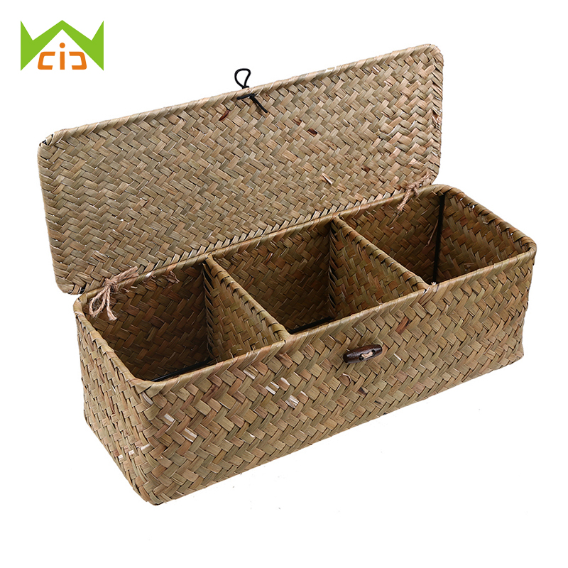 WCIC 3 Grid Storage Baskets with Cover Vintage Jewelry Storage Case Straw Desktop Tea Set Handmade Rattan Makeup Storage Box