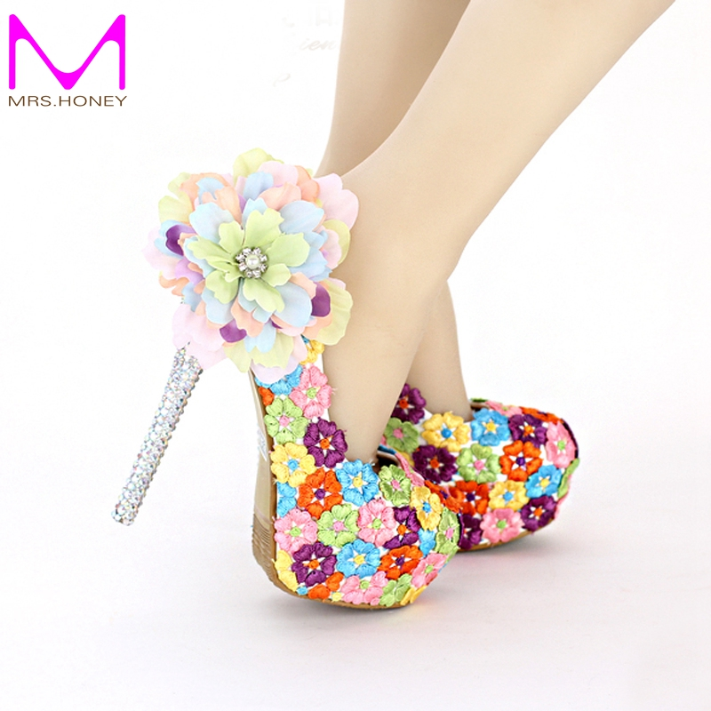 colorful wedding shoes colorful lace floral high heels beautiful formal dress 3012