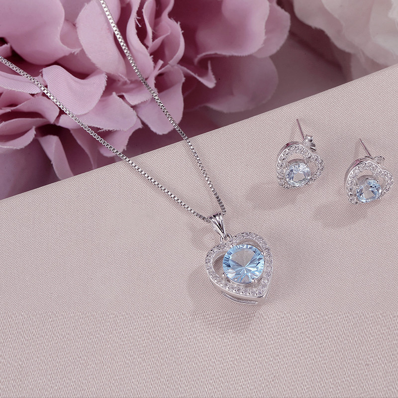 Natural Gemstone Jewelry Sets For Women Solid 925 Silver Topaz Heart Blue Stud Earrings Necklace Pendant