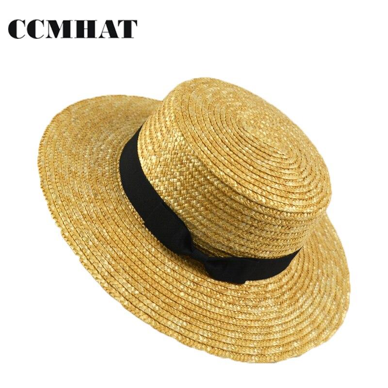 Chapeau Paille CCMHAT Mulheres Aba Larga Chapéu de Palha Moda Verão senhora  Chapéus de Sol Trigo 97ce2928b94