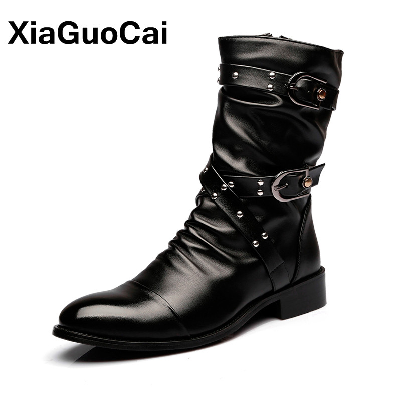 Autumn Western Men Military Boots British Pointed Toe Pleated Leather Winter Motorcycle Boots Mid-Calf High Top Male Shoes ...