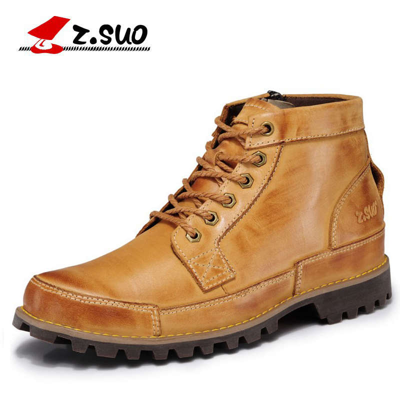z.suo New Fashion Men Boots Cow Leather Zipper Design Ankle Boots Genuine Leather Rubber Bota Masculina Winter Men's Shoes zs608 new men winter boots plush genuine leather men cowboy waterproof ankle shoes men snow boots warm waterproof rubber men boots