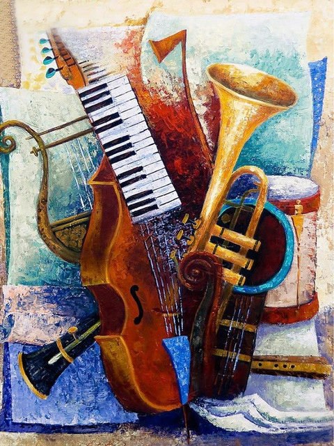 Diamond Embroidery Musical Instrument Rhinestones Full