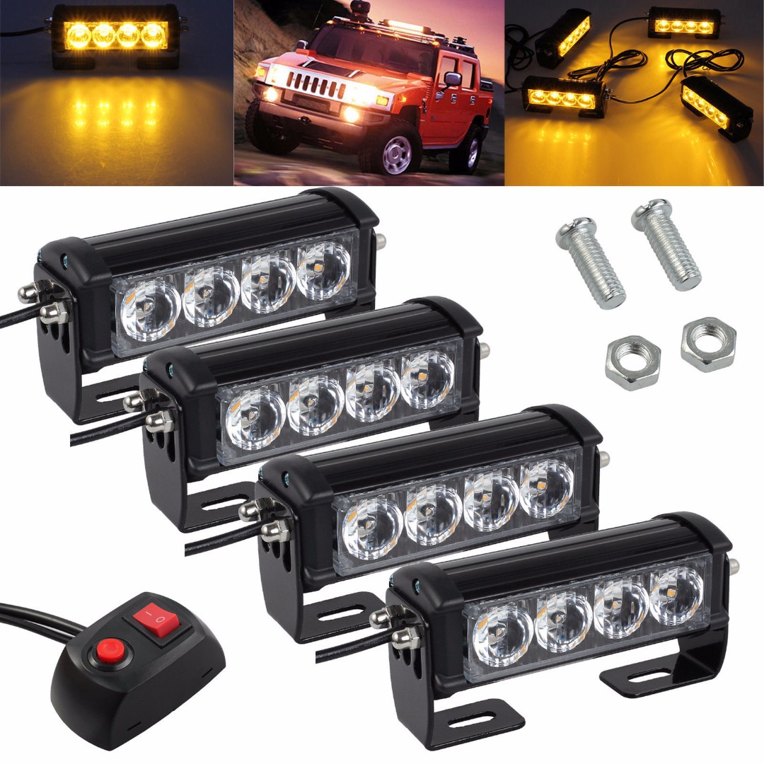 4Pcs 12/24V Car Truck LED Bright Flashing Light Waterproof Blink Grill Lamp Strobe Lights Amber Yellow