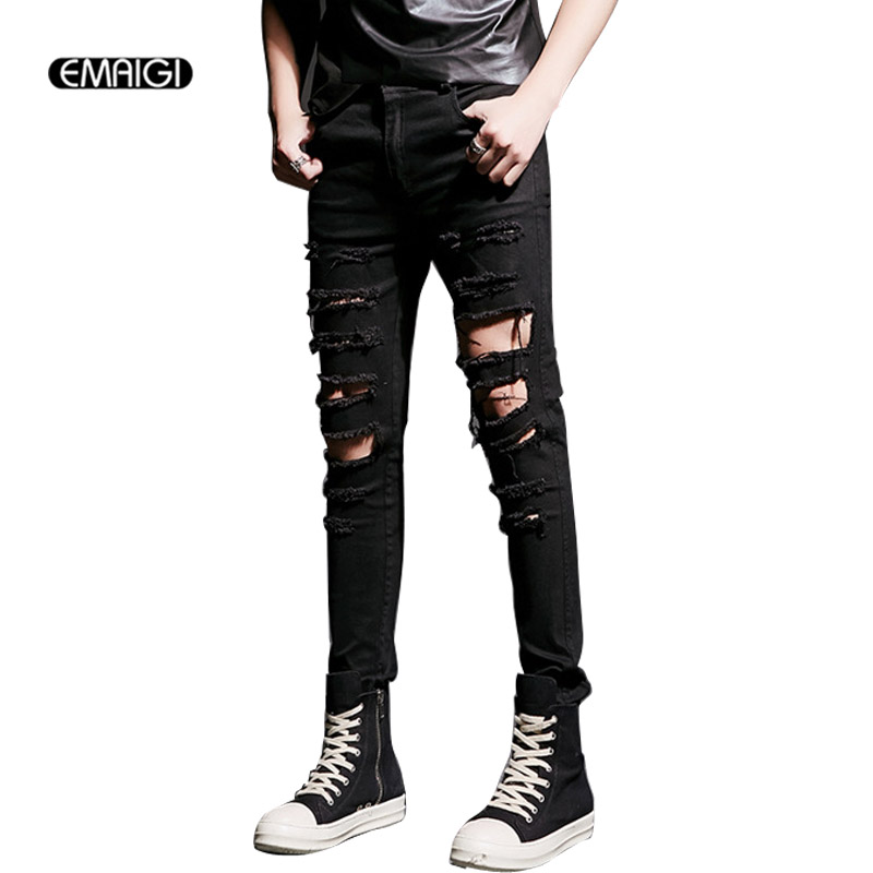 2017 fashion high street mens destroyed jeans hole casual denim pants joggger damage jeans rock punk gothic jeans costumes K519 2017 new hiphop men hole jogger pants high quality casual destroyed skinny ruched jeans hole casual pants jogger rock jeans
