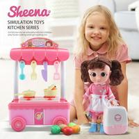 Simulated Voice Girl Dolls With Music Lighting Effect Girl Kitchen Play Hours Toys Cooking Kitchen Kids Mini Playset Toys