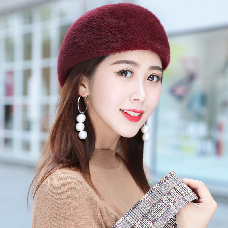 69dc1a572fb ... Mink Cashmere Beret Hat Female Rabbit Knitted Winter Hats Caps Lady  Middle-Aged Cap Fashion ...