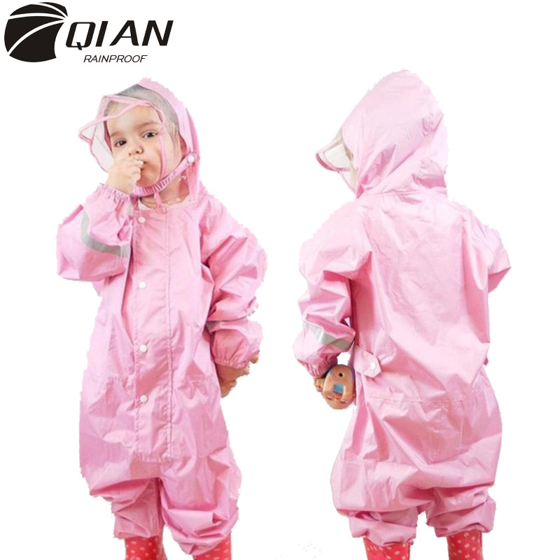 QIAN 2-9 Years Old Fashionable Waterproof Jumpsuit Raincoat Hooded Cartoon Kids One-Piece Rain Coat Tour Children Rain Gear Suit
