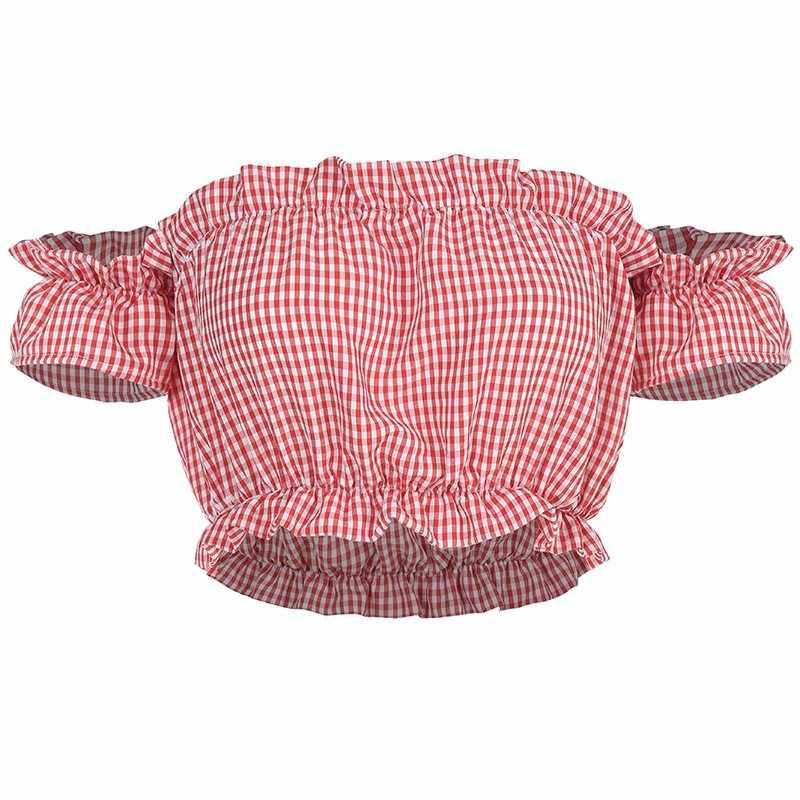 Клетчатая блузка с открытыми плечами Женская Сексуальная Готическая летняя Укороченная рубашка винтажная рубашка Повседневная розовая милая девушка тонкая стильная блузки с открытой спиной