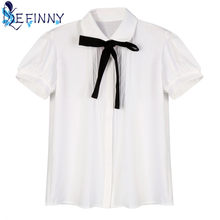 65781ceb0448a4 2018 Newest Casual Female Elegant Bow Tie White Blouses Chiffon Turn-down  Collar Casual Shirt Ladies Tops Girl School Blouse