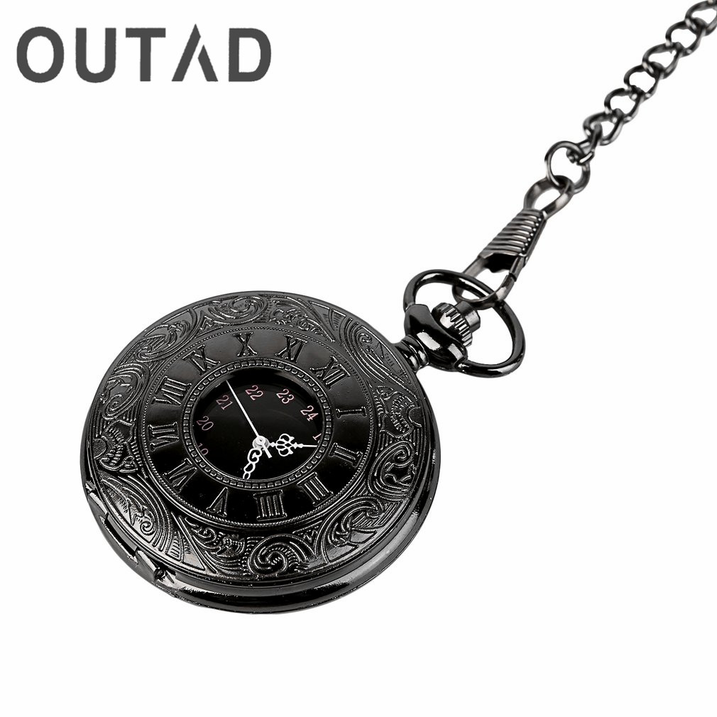 OUTAD Quartz Steampunk Pocket Watch Vintage Fashion Roman Number Men Women Fob Watch With Sweater Necklace Chain For