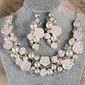 Coreia do estilo de cerâmica lindo flor marfim pérola nupcial do casamento de cristal conjunto de jóias de moda colar brincos Set mulheres jóias