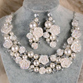 Korea Style Gorgeous Ceramic Flower Ivory Pearl Crystal Bridal Wedding Jewelry Set Fashion Necklace Earrings Set Women Jewelry