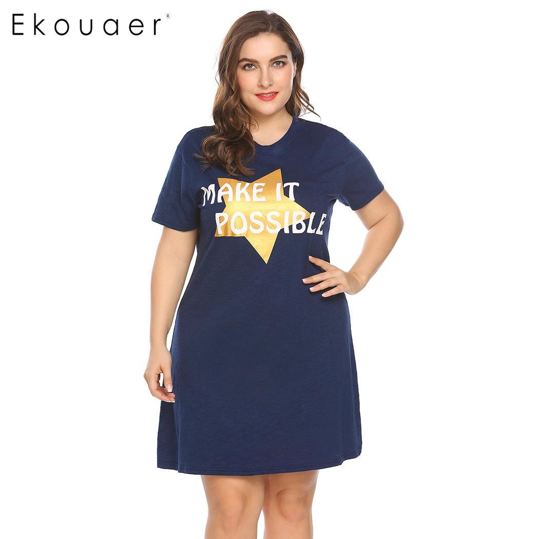 Ekouaer Women Big Size Nightdress Sleepwear Short Sleeve Letter Star Print V-Neck Sleepshirt Nightgown Female Plus Size Homewear