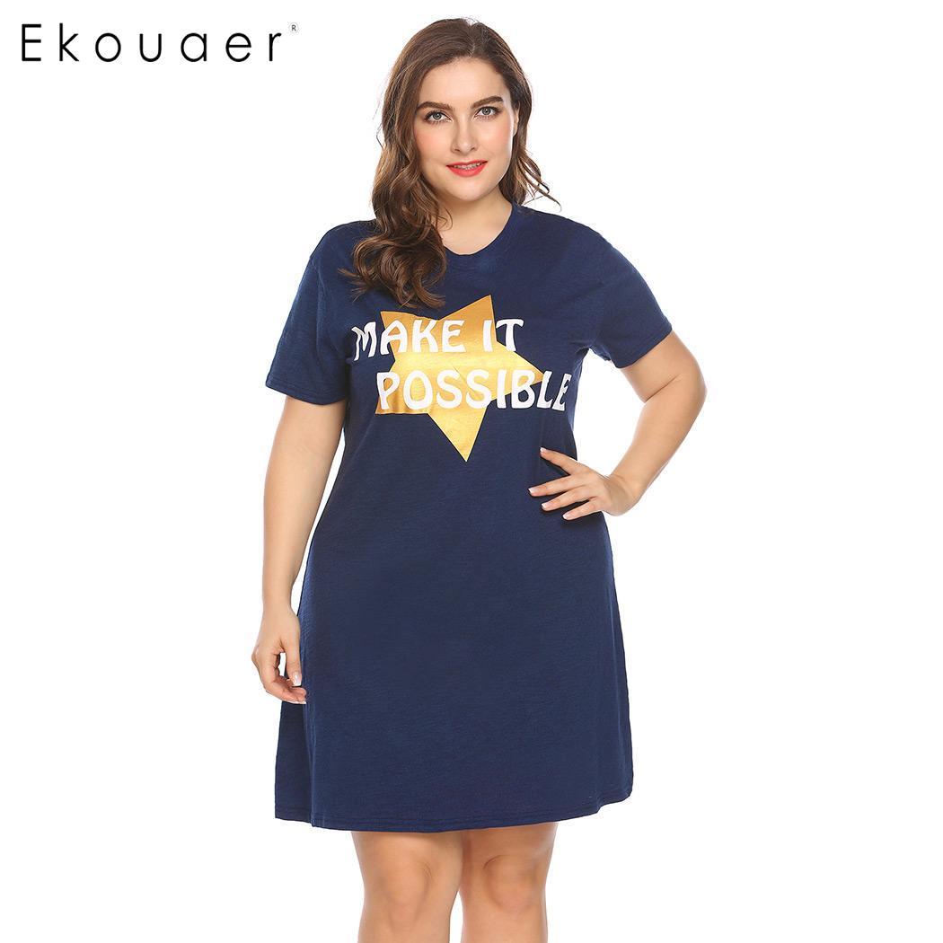 Ekouaer Women Big Size Nightdress Sleepwear Short Sleeve Letter Star Print V-Neck Sleepshirt Nightgown Female Plus Size Homewear