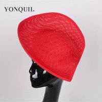 2017 New Design Red Fascinator Hat Imitation Sinamay 30CM Big Base Hat Heart Shape For Church