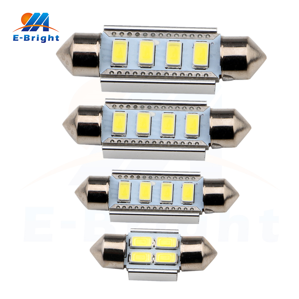 10pcs 31mm 36mm 39mm 41mm 5730 4 LED Festoon Bulbs C5W Canbus No Error Pate Number Dome Reading Lights 12V Led Free Shipping