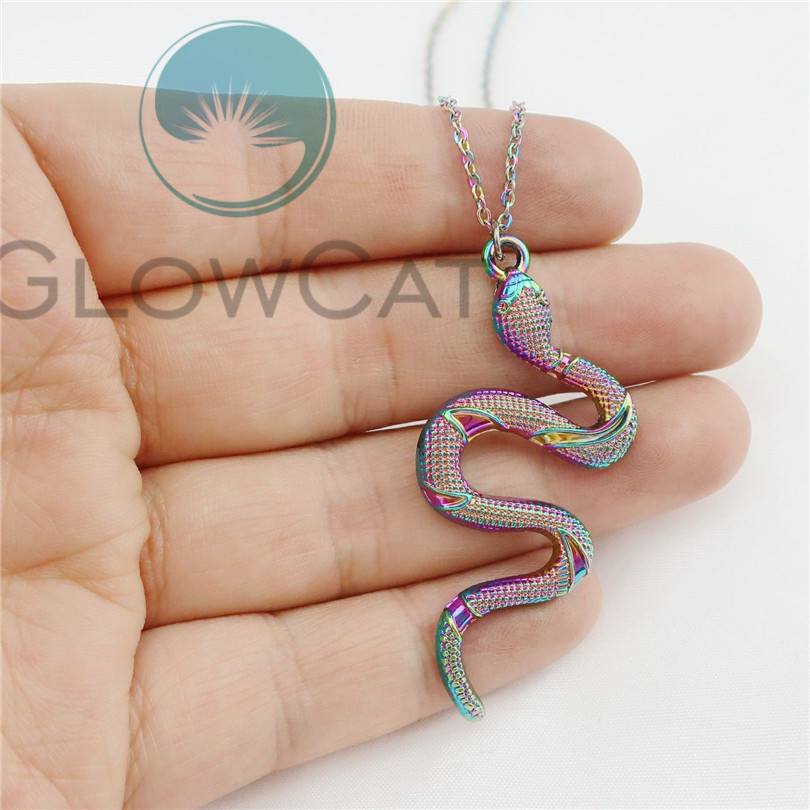2019 Rainbow Necklaces Snake Choker Necklaces For Women Trendy Necklace Pendants Top Quantity 50cm Steel Necklace Jewelry