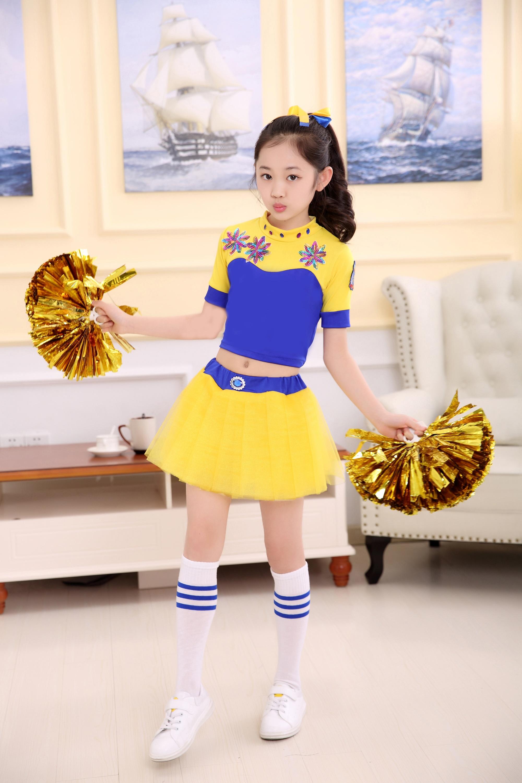 2018 new childrens cheerleading costume aerobics dance Girl CHEERLEADING SKIRT boy cosplay costumes sports cheerleaders
