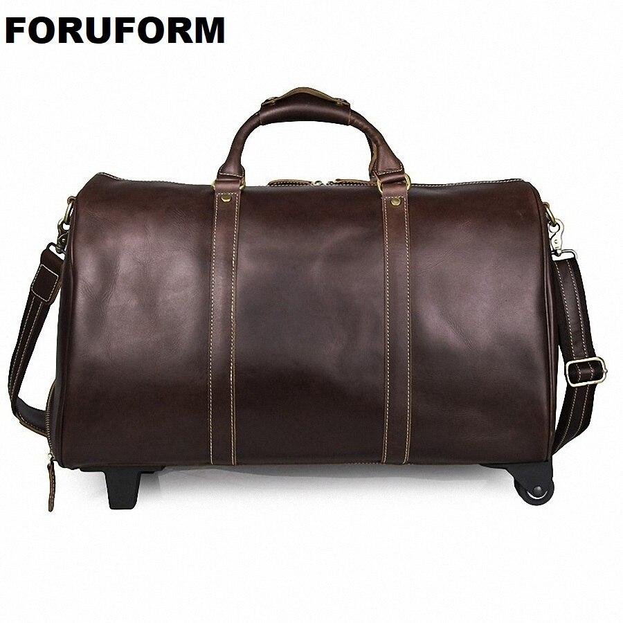 Фото Draw-bar Box Vintage Genuine Leather Cowhide Large Capacity Travel Luggage Men Duffle Bags Weekend bag Large Tote HandbagLI-2107
