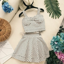 New Vintage Ladies Blending Sweet Dot Printed Strap Bowknot Tube Top with Falsies Mini Bubble Skirt