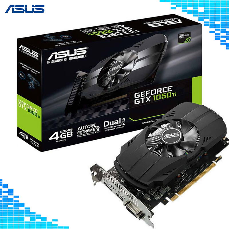 Asus PH-GTX 1050Ti-4G Vidéo Jeu Cartes Graphiques Boost 1392 mhz 128Bit GDDR5 PCI Express 3.0 16X GeForce GTX 1050Ti jeu carte