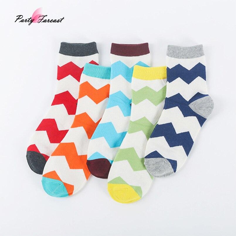 PF 5pairs Mens Long Socks Colorful Wave Stripes Male Socks Comfortable Cotton Meias Homem Mens Dress Socks Heren Sokken V0302