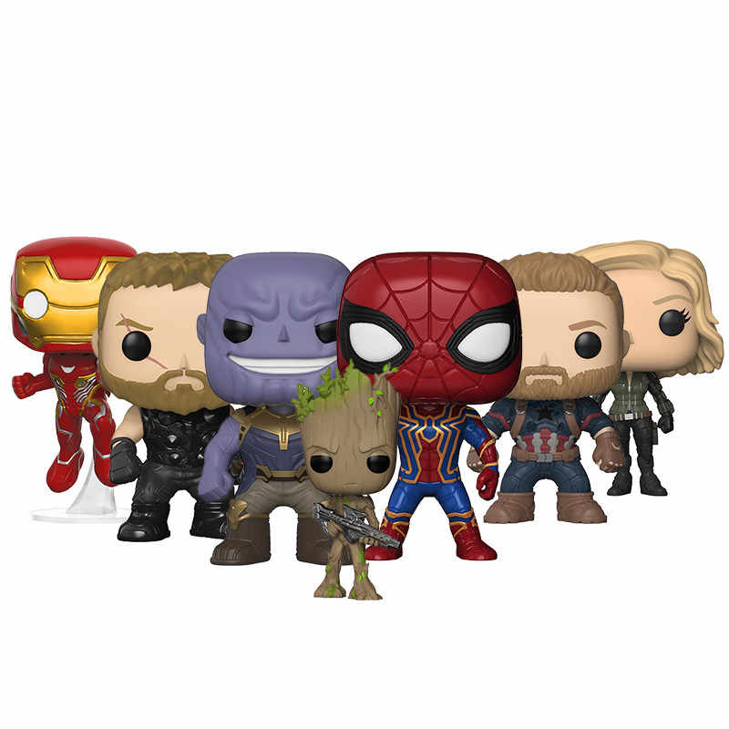 Funko POP Мстители 3: Бесконечная война танос Железный человек Grootted Тор brinquedos коллекция виниловые фигурки игрушки для детей