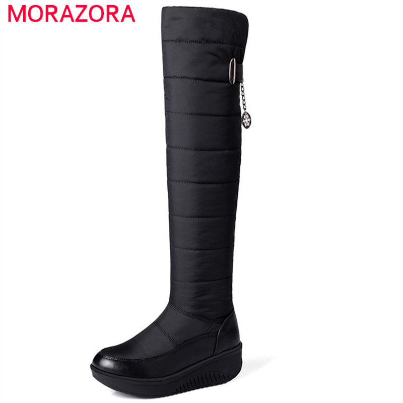 MORAZORA Large size 35-44 winter snow boots women shoes fashion warm platform shoes over the knee boots fur thigh high boots
