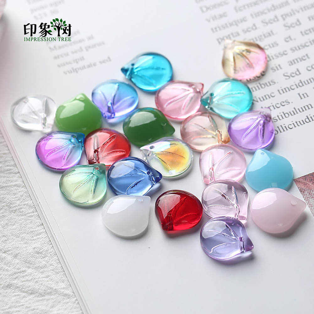 Handcraft Lampwork Beads Cabochon TearDrop Shape Flower Petals Bead 10pcs 12x10mm Handmade Necklace DIY Jewelry Making 16033