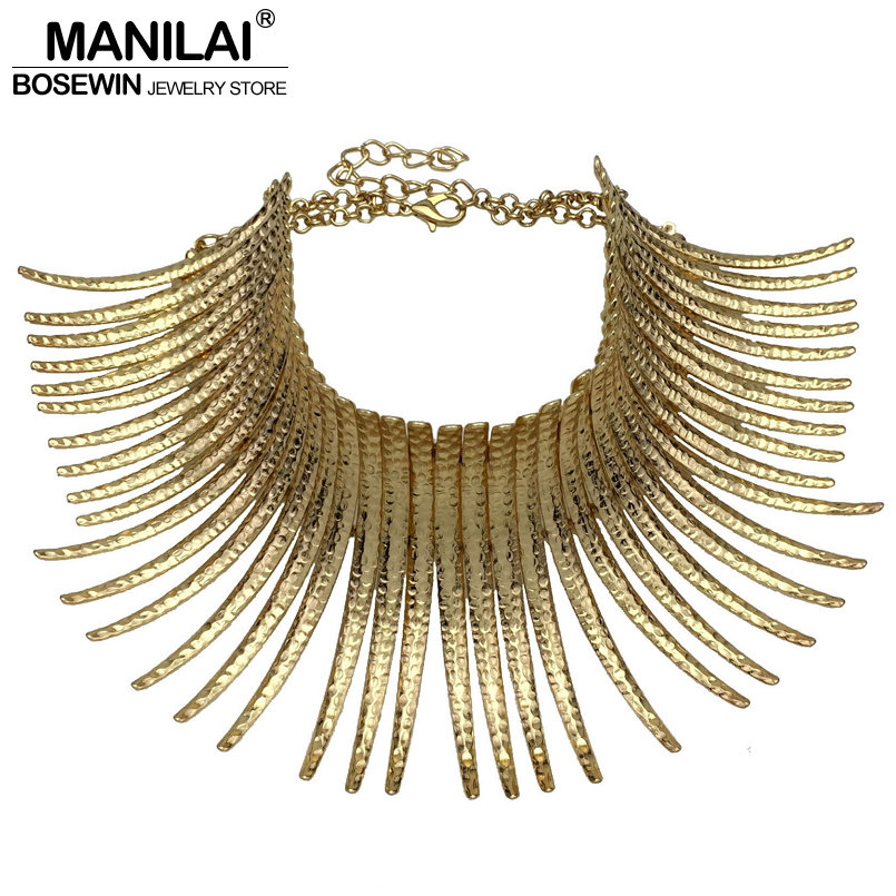 MANILAI Fashion Indian Bending Alloy Big Torques Statement Necklaces Steampunk Jewelry Collar Choker Necklace For Women manilai trendy metal hollow torque choker necklaces women indian punk geometric collar statement necklace jewelry accessories