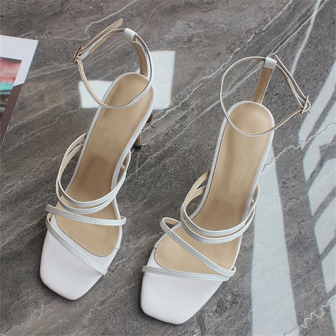 String Bead Women Sandals Runway Square Toe Summer Sandals Narrow Bands Thin High Heels Party Shoes White Shoes Sandalias Mujer Multan