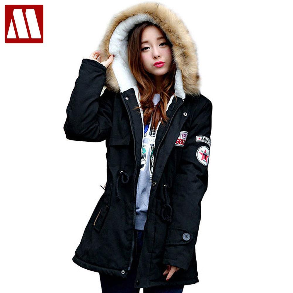 2017 Winter Casual Lady fur collar coat army green outwear coats Women jackets Ladies winter ...