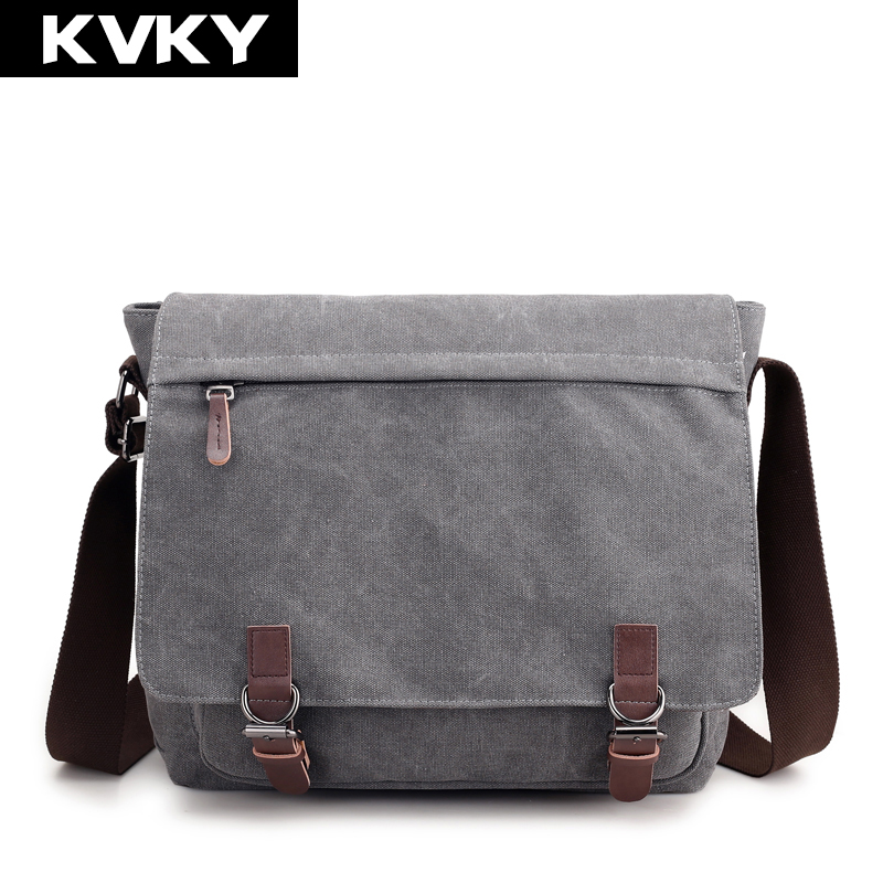 KVKY Men Bag Vinatge Canvas Messenger Bags High Quality Shoulder Bags Solid Male Crossbody Bags Man Casual Tote Travel Bolsas high quality canvas men messenger bags small crossbody bags sacoche homme satchels bolsas men travel shoulder bag handbag ls1202