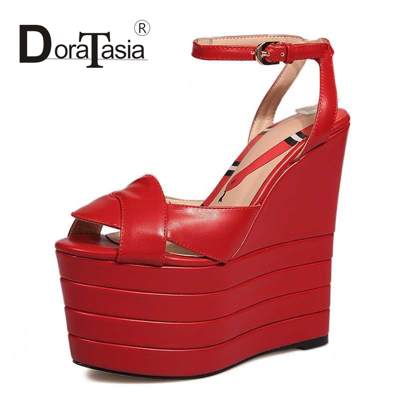 ФОТО DoraTasia Ankle Strap Women Sandals Sexy High Heel Wedges Open Toe Platform Party Wedding Shoes 2017 Big Size 34-42